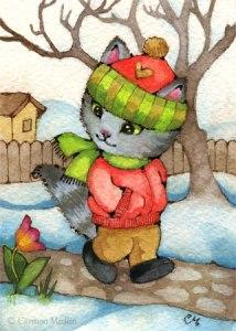 Spring is Near cute cat art