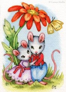 Sweethearts cute mouse couple art