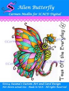 Alien Butterfly SCACD digi stamp Carmen Medlin
