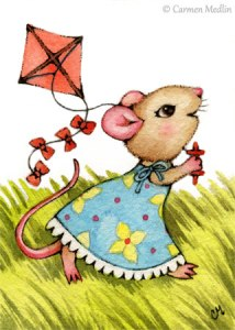 Breezy Spring cute mouse art by Carmen Medlin