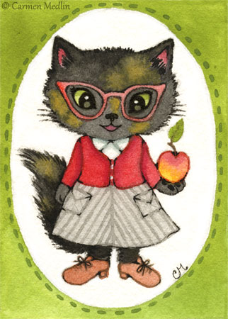 Fluffy cute retro 1950s teacher cat art