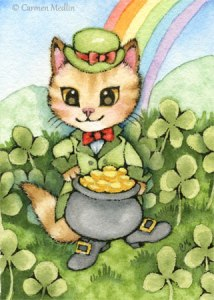 Kitty Luck cute leprechaun cat art by Carmen Medlin
