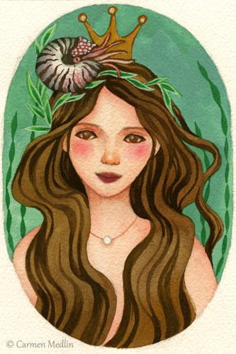Nautilus Queen fantasy mermaid art