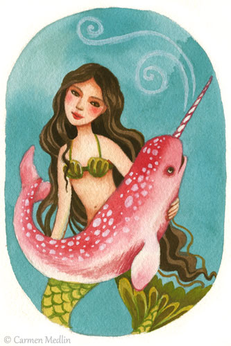 Pet Narwhal cute mermaid art