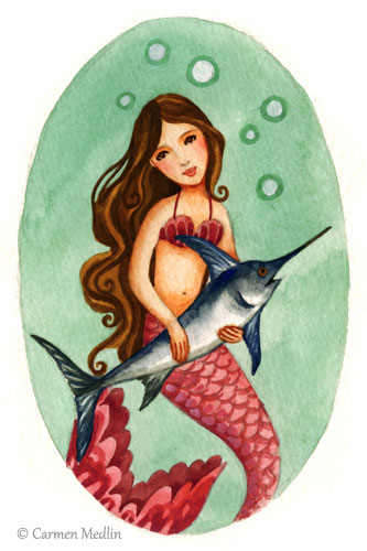 Pet Swordfish cute mermaid art