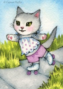 Sidewalk Skater cute cat art by Carmen Medlin