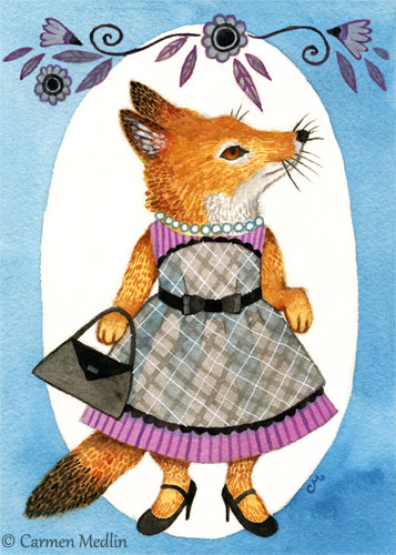 Fashion Fox cute animal gouache art by Carmen Medlin