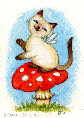 Siamese Cat Fairy ACEO by Carmen Medlin