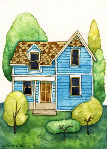 Little Blue House watercolor painting by Carmen Medlin