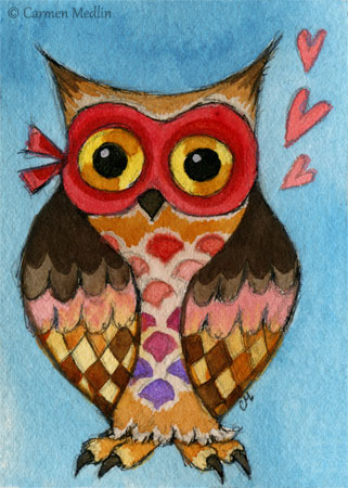 Masked Owl cute bird art by Carmen Medlin