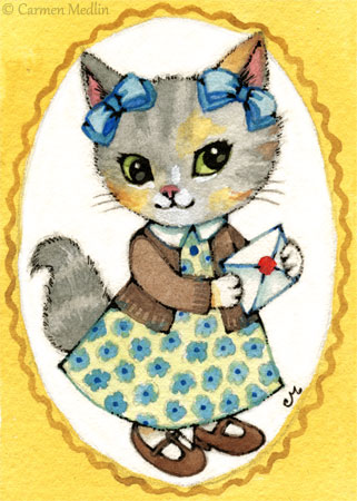 Olive cute 1950s retro cat art by Carmen Medlin