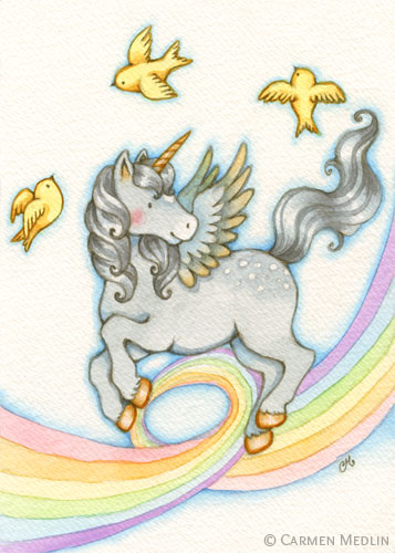 Rainbow Ribbon cute unicorn watercolor art