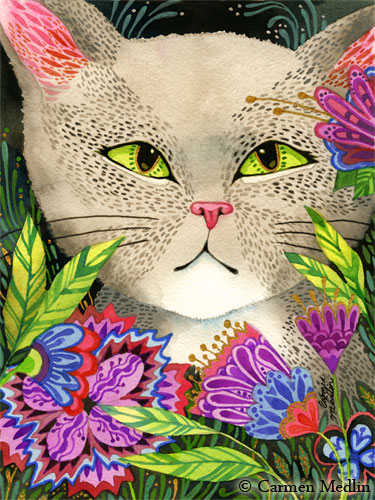 Secret Garden cute cat art by Carmen Medlin