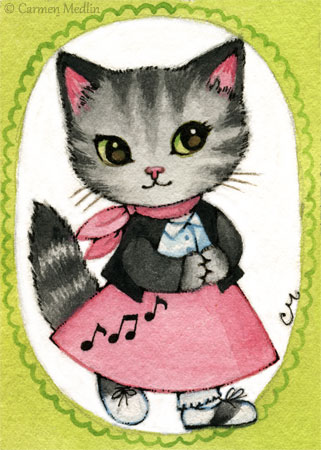 Bitsy 1950s retro cat art