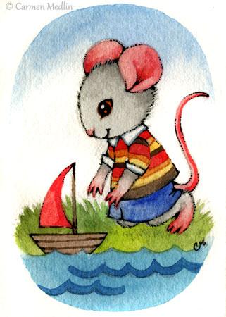 Red Sailboat cute mouse art Carmen Medlin