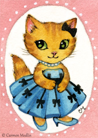 Princess 1950s retro cat art Carmen Medlin