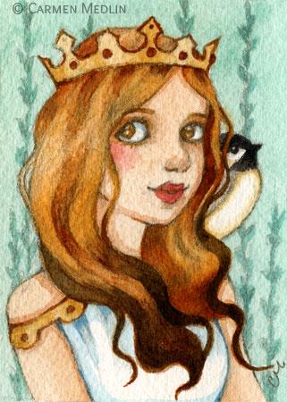 Princess Chickadee fairytale bird art Carmen Medlin