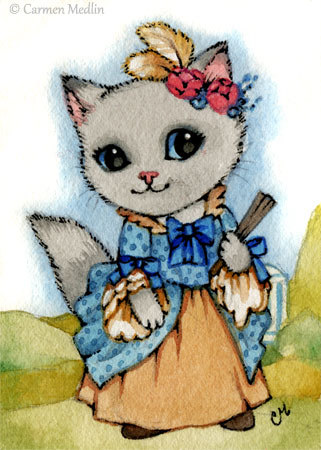 Rococo Kitty cute georgian cat art Carmen Medlin