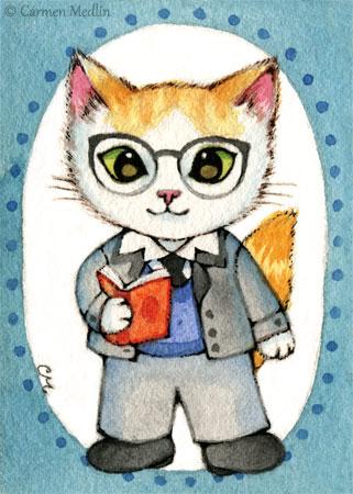 Sam 1950s retro professor teacher cat art Carmen Medlin