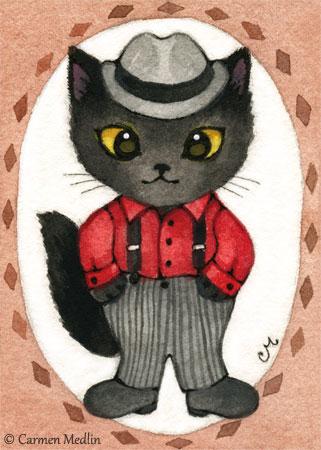 1950s retro cat art Carmen Medlin