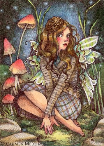 Acorn Beret fall fairy art by Carmen Medlin