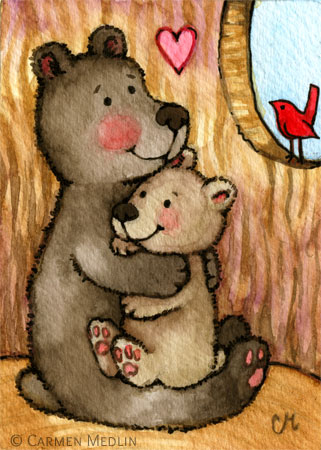 Bear Hugs - cute teddy bear art by Carmen Medlin