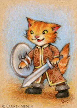Captain of the Guard cute medieval cat art by Carmen Medlin