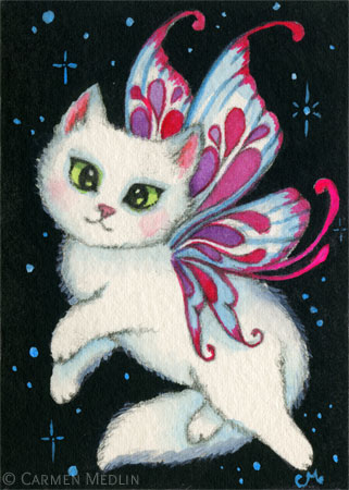Cosmic Kitten I cute space fairy cat art by Carmen Medlin