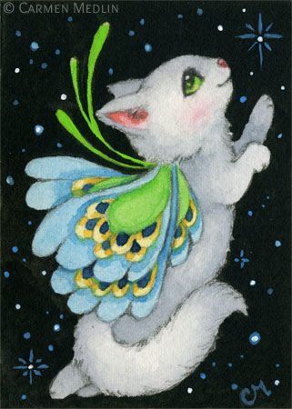 Cosmic Kitten II cute space fairy cat art by Carmen Medlin
