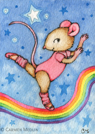 Dancing Dreams cute mouse art by Carmen Medlin