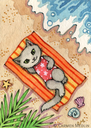 Escape cute beach cat art by Carmen Medlin