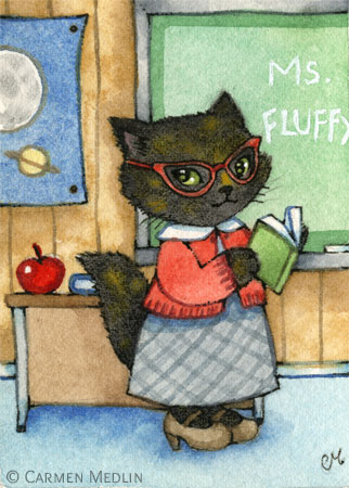First Day of School cute teacher cat art by Carmen Medlin
