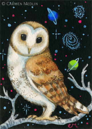 Galactic Owl space bird art by Carmen Medlin