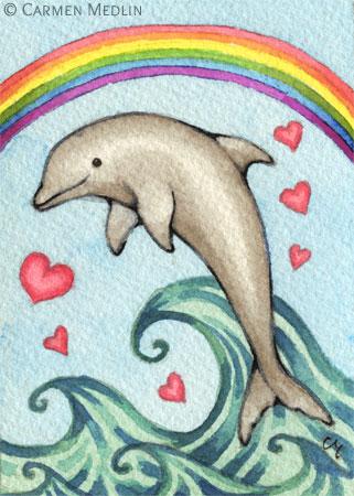 Joy - rainbow dolphin art by Carmen Medlin