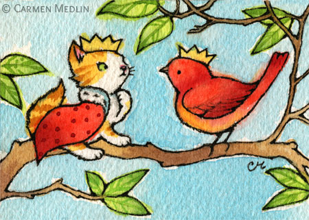 King of the Tree cute cat and bird art by Carmen Medlin