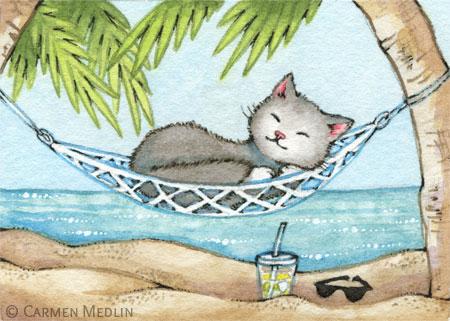 Nap in Paradise cute island cat art by Carmen Medlin