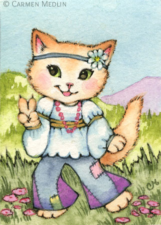 Peace - 60s Hippie Cat Art by Carmen Medlin