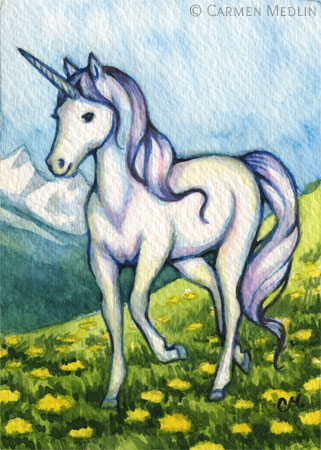 Purity - unicorn fantasy art by Carmen Medlin