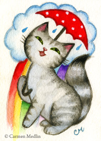 Rainbow Shower cute cat art by Carmen Medlin