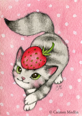 Strawberry on My Head cute cat art by Carmen Medlin
