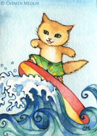 Surfer cute sporty cat art by Carmen Medlin