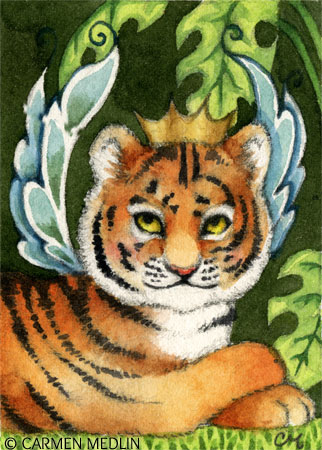Tiger Cub Fairy fantasy cat art by Carmen Medlin