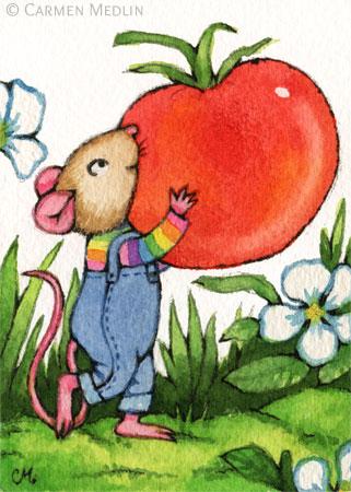Tomato Harvest cute mouse art by Carmen Medlin
