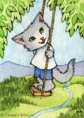 Tree Swing cute summer cat art by Carmen Medlin
