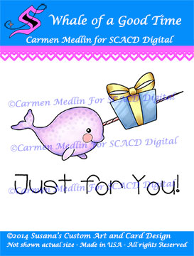 Whale of a Good Time cute Carmen Medlin for SCACD Digital stamp