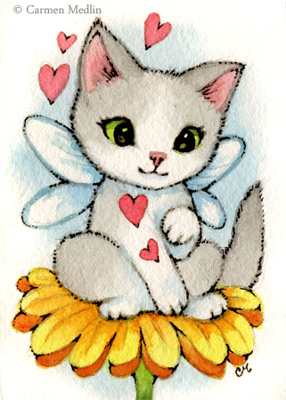 Daisy Kitten cute fairy cat art by Carmen Medlin