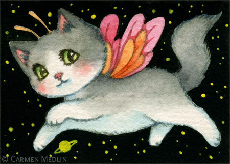 Galactic Kitten cute fairy space cat art by Carmen Medlin
