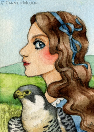 Princess Peregrine fantasy fairytale falcon art by Carmen Medlin