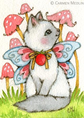 Strawberry Mushrooms - fairy Siamese cat art by Carmen Medlin