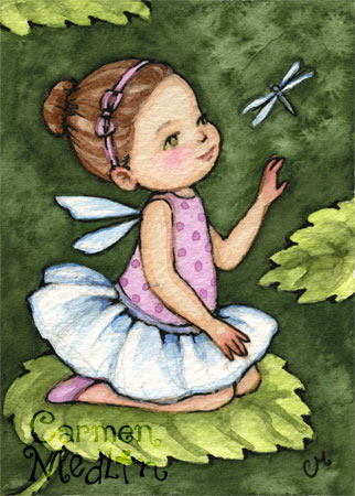 Tiny Wings ACEO cute fairy child art by Carmen Medlin